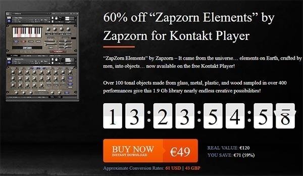 VSTBuzzで、Zapzorn「Zapzorn Elements」が60%off!: セール情報
